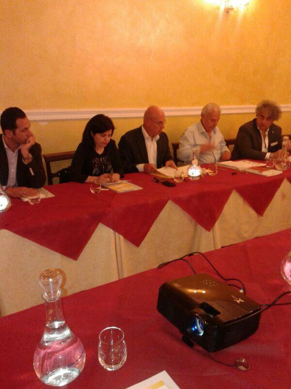 Da sinistra: Guglielmino, l'Assessore alla ricostruzione della Provincia dell'Aquila Ersilia Lancia, Di Biagi, Sabatini, Fordellone