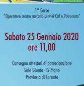 Primo Corso Operatore centro raccolta servizi Caf e Patronato